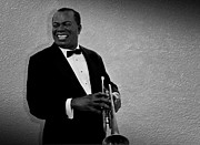 Music Metal Prints - Louis Armstrong BW Metal Print by David Dehner
