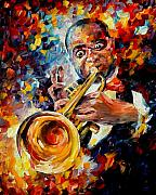 Jazz Framed Prints - Louis Armstrong Framed Print by Leonid Afremov