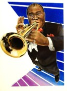 Trumpet Painting Originals - Louis Armstrong by Marsha Heiken
