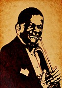Singer  Paintings - Louis Armstrong original coffee painting art by Georgeta  Blanaru