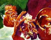 Music Legend Painting Framed Prints - Louis Armstrong Pops Framed Print by David Lloyd Glover