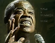 Interior Scene Digital Art Prints - Louis Armstrong Wonderful World Print by Yury Malkov