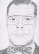 Black Tie Drawings - Louis Farrakhan by Steve A Rhoden