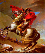 Jacques Louis (1748-1825) Prints - Louis Napoleon At The St Bernard Pass Print by Pg Reproductions
