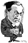 Caricature Portraits Posters - Louis Pasteur, Caricature Poster by Gary Brown