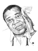 Famous People Drawings - Louis Satchmo Armstrong by Murphy Elliott