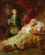 Flirting Paintings - Louis XV and Madame Dubarry by  Gyula Benczur