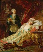 Louis Xv And Madame Dubarry Print by  Gyula Benczur