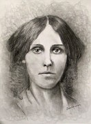 Concord Massachusetts Drawings Prints - Louisa May Alcott Print by Jack Skinner