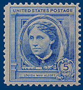 Louisa May Alcott Metal Prints - Louisa May Alcott postage stamp  Metal Print by James Hill