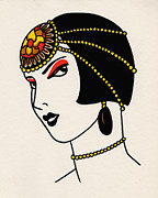 Jewelry Drawings Prints - Louise Print by Lauren Busiere