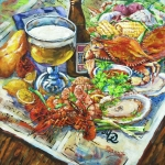 Shrimp Painting Prints - Louisiana 4 Seasons Print by Dianne Parks