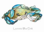 Tear Painting Posters - Louisiana Blue Crab Poster by Elaine Hodges