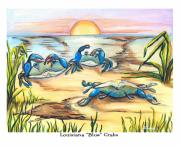 Crabs Paintings - Louisiana Blue Crabs by Elaine Hodges
