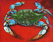 Crab Posters - Louisiana Blue on Red Poster by Dianne Parks