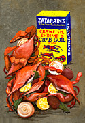 Slate Paintings - Louisiana Boiled Crabs by Elaine Hodges