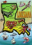Louisiana Digital Art Framed Prints - Louisiana Cartoon Map Framed Print by Kevin Middleton