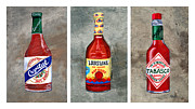 Trio Painting Posters - Louisiana Hot Sauce Bottles Poster by Elaine Hodges