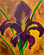 Iris Paintings - Louisiana Iris Fleur de Lis by Jessica Stuntz