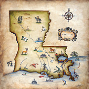 Old Painting Posters - Louisiana Map Poster by Judy Merrell