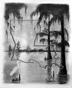 Early Drawings Originals - Louisiana Sunrise in the Atchafalaya Basin by Ron Landry
