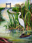 Green Boat Prints - Louisiana Wetlands Print by Elaine Hodges