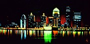 City Skylines Paintings - Louisville in black light by Thomas Kolendra