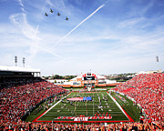 Airplane Photos Prints - Louisville Papa Johns Cardinal Stadium Fly-Over  Print by Louisville Athletics