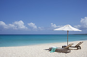 Turks And Caicos Islands Photos - Lounge Chairs And Umbrella On White Sand Beach by Lisa Romerein
