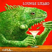 Happy Hour Prints - Lounge lizard... Print by Will Bullas