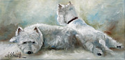 Animals Framed Prints Paintings - Lounge by Mary Sparrow Smith