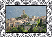 Provence Village Prints - Lourmarin in Provence with border Print by Carla Parris