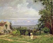 Couples Paintings - Louveciennes by Camille Pissarro