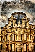 Paris Digital Art Prints - Louvre a la Grunge Print by Greg Sharpe