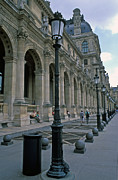 Architecture Greeting Cards Prints - Louvre Lampposts Print by Kathy Yates