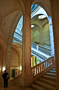 Museum Framed Prints - Louvre Stairwell Framed Print by Mike Reid
