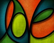Colorful Mixed Media Posters - Love - Abstract Poster by Shevon Johnson