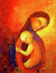 Abstract Mother And Child Paintings - Love 1 by Sagarika Sen
