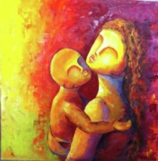 Abstract Mother And Child Paintings - Love 2 by Sagarika Sen