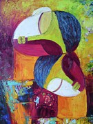 Abstract Mother And Child Paintings - Love 2 by Sangeeta Charan