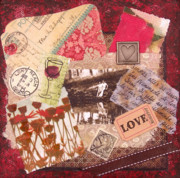 Catherine Jeltes Originals - Love Affair Collage Painting -Vintage Style Romance Mixed Media Original by Catherine Jeltes