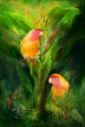 Peach Faced Lovebird Bird Posters - Love Among The Bananas Poster by Carol Cavalaris