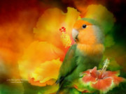 Parrot Mixed Media Prints - Love Among The Hibiscus Print by Carol Cavalaris
