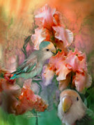Parrot Mixed Media Prints - Love Among The Irises Print by Carol Cavalaris