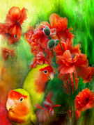 Lovebird Framed Prints - Love Among The Poppies Framed Print by Carol Cavalaris