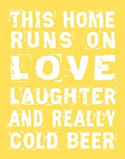 Love Game Framed Prints - Love and Cold Beer Poster Framed Print by Jaime Friedman