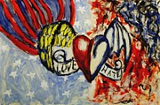 Mendyz Originals - Love and Hate Angel and Devil American Hearts and Flags with Wings and Stars by MendyZ M Zimmerman