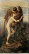 Angel Art Paintings - Love and Life by George Frederic Watts