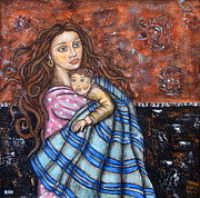 Rain Ririn  Paintings - Love and Protection by Rain Ririn