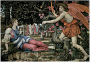 Angel Art Paintings - Love and the Maiden by John Roddam Spencer Stanhope